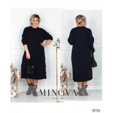 Женское повседневное платье с разрезами по бокам-темно-синий