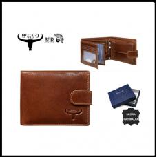Мужской кошелек  Bufalo коричневый из натуральной кожи код 533