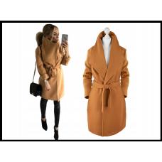 Женское пальто  Avavnta под пояс, на флисе, коричневое
