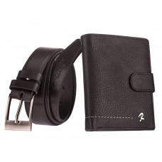 Мужской кошелек + ремень натуральная кожа Италия бренд Rovicky вертикальный код 322