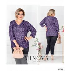 Женская стильная рубашка батал с ярким принтом-фиолетовый