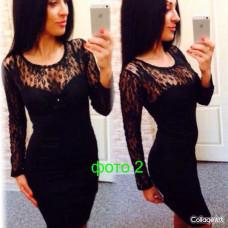 Платье гипюр спереди и сзаду мини 42 44 46