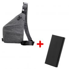 Сумка-мессенджер 2Life Cross Body Серый + УМБ 2Life Power Bank 20000 mAh Black (nr1-243)