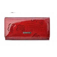 Женский кожаный кошелек Lorenti  лак (красный) Италия