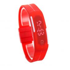 Наручные LED часы браслет красный