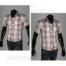 Мужская рубашка с полосками M-XXL код 65белый+бежевый
