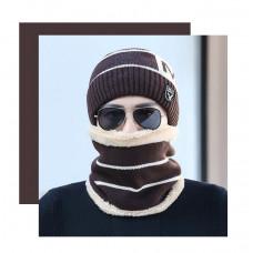 Мужская зимняя вязаная шапка  WXT  коричневая код 93