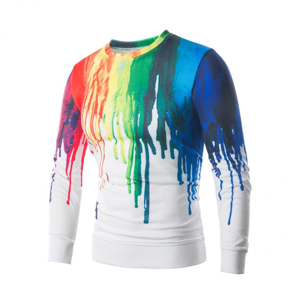 Мужская кофта, свитер белая с принтом  W102 Хит 2020!