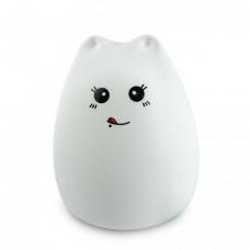 Силиконовый LED ночник-лампа Supretto Кошечка Белый (5106)
