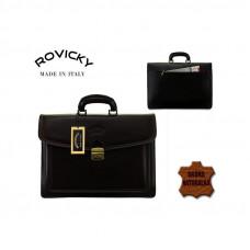 Портфель натуральная кожа производство Италия Rovicky цвет темно-коричневый