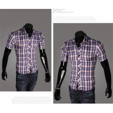 Мужская рубашка с полосками M-XXL код 65синий (мелкая клутка)
