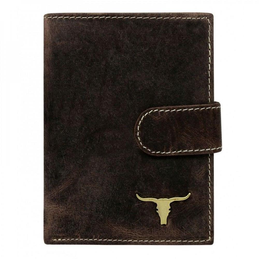 Мужской портмоне Always Wild с изображением быка из натуральной кожи (вертикальный)