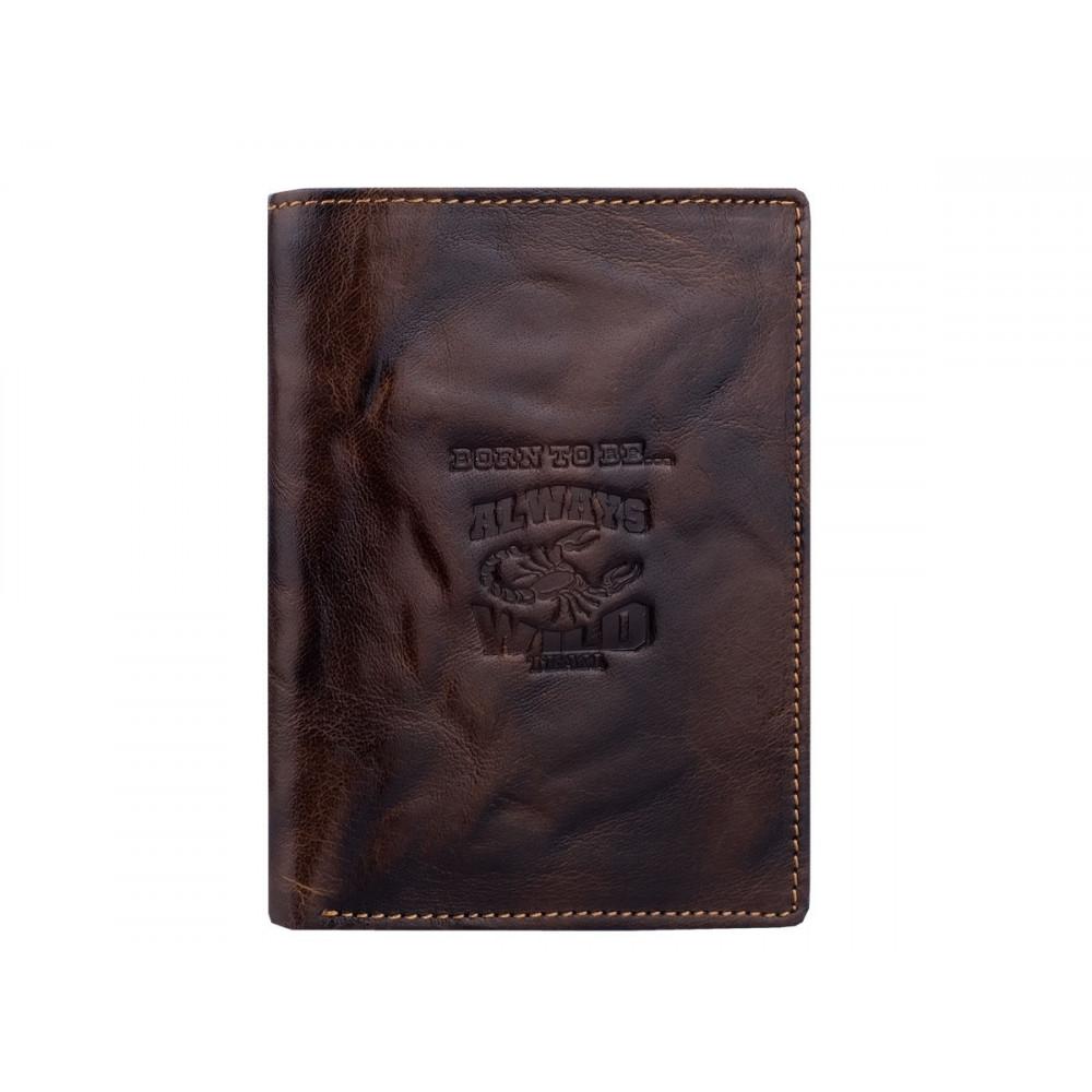 Мужской кошелек Always Wild из натуральной кожи потертый