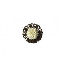 Кольцо Inna Kalinina N54 Цветок Белый Акрил (956054)