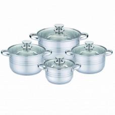 Набор посуды (кастрюль) из 4 предметов Unique UN-5032  кастрюли с крышками, нержавеющая сталь