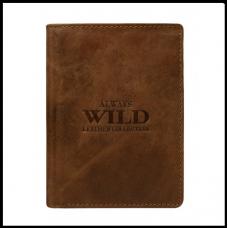 Кошелек мужской бренд Always Wild коричневый натуральная кожа код 530