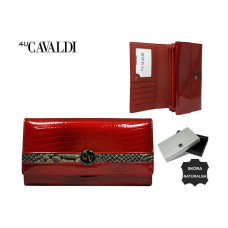 Кожаный кошелек Cavaldi красный-золото Польша H22-2-RSD
