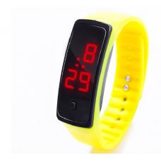 Наручные LED 555 часы браслет желтый