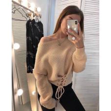 Вязаный теплый свитер со шнуровкой . Чёрный, бежевый, желтый. Размер 42-44