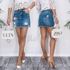 Юбка джинсовая 3731 New Jeans  с рванкой синяя весенняя коттоновая размер 25-30 (Н)