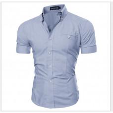 Рубашка мужская с коротким рукавом приталенная (серая ) код 52