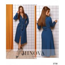 Женское платье на поясе джинсовое -синий
