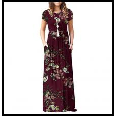 Макси платье с коротким рукавом и карманами S-3XL, разные расцветки