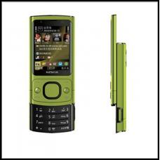 Телефон-слайдер  6700s зелёный с металлическим корпусом