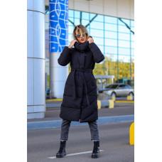 Удлиненное стеганное зимнее пальто на холофайбере. Серый, черный. M, L, XL
