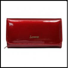 Кожаный женский кошелёк красный лак Польша бренд Lorenti с защитой RFID бренд  LORENTI