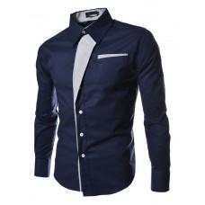 Рубашка мужская приталеная M, L, XL, XXL ( темно-синя ) код 2