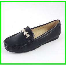 Женские Мокасины Кожаные Чёрны Слипоны (размеры: 36)