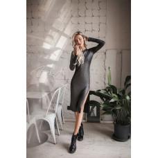 Модное трикотажное платье с блеском. Серебро, размер S, M, L.