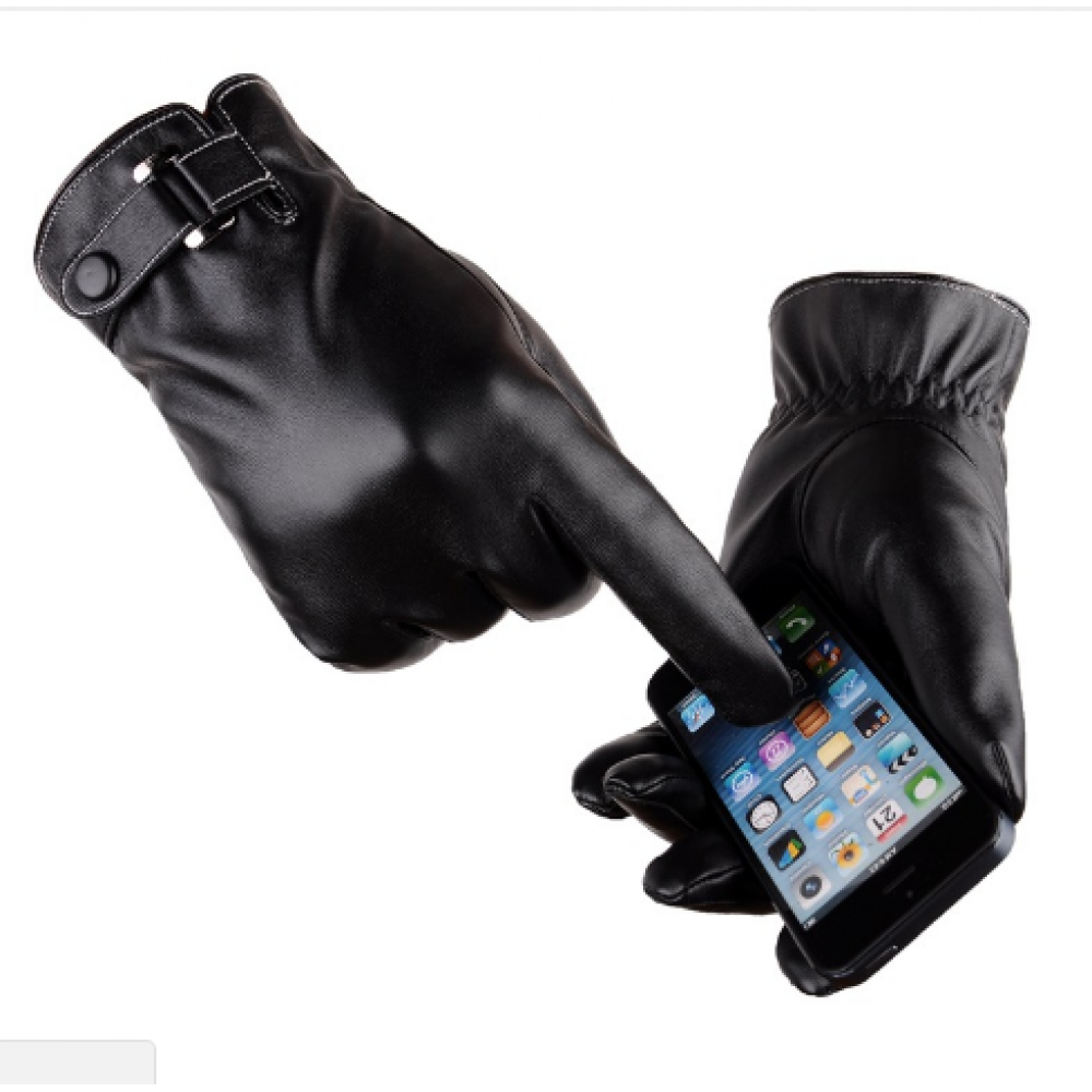 Перчатки мужские для сенсорных экранов код 16 черные