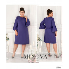 Женское нарядное платье рукава клеш батал-фиолетовый