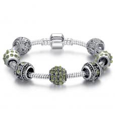 Женский браслет Fench Silver Plated green crystal 3 Cеребристый (AJ_PS3005f19)