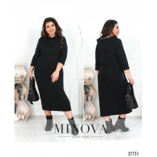 Женское повседневное платье батал с капюшоном-чёрный