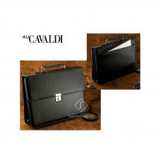 Качественный портфель из экокожи Cavaldi Польша цвет черный