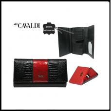Кошелек женский  Cavaldi натуральная кожа лак Польша черный  код  1010