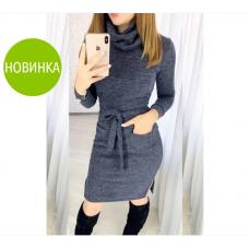 """Платье - гольф миди с карманами """"Мадлен"""" размер 50-52"""