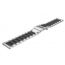 Ремешок BeWatch стальной удлиненный 20.5 см шириной 22 мм универсальный Duo Серебро с черным (1025411)