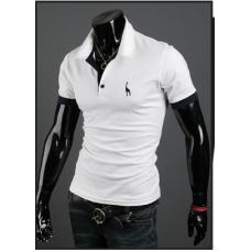 Мужская футболка с воротником M-XXL (белый) код 56