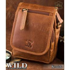 Сумка мужская Always Wild натуральная кожа Польша коньячного цвета