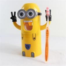 Дозатор зубной пасты Миньон желтый плюс держатель для зубных щеток (dj-3)