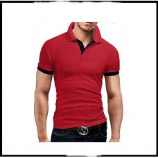 Мужская футболка с воротником  короткий рукав M-XXL (красный) T23