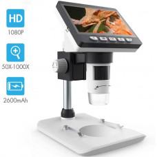 Цифровой ЖК-микроскоп SKYBASIC 4,3 дюйма с увеличением 50X-1000X Zoom HD 1080P 2 мегапикселя  2600 мАч аккумулятор