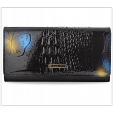 Женский кожаный кошелёк CAVALDI чёрный 3D цветы Польша