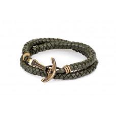 Кожаный браслет с Якорем ANTIQUE Olive Skin Оливковый (mt1108)