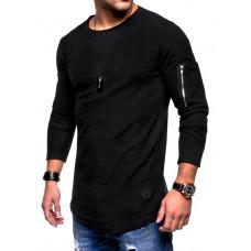 Свитер с карманом на рукаве для телефона код 81 (черный)