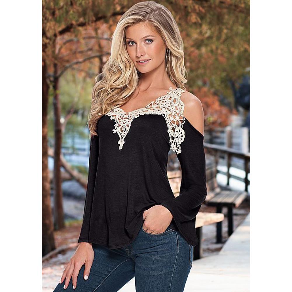 """Женская блуза-кофта """"Vest"""" с кружевной окантовкой (черная)"""